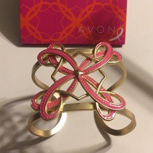 Avon Breast Cancer Hope ribbon cuff bracelet